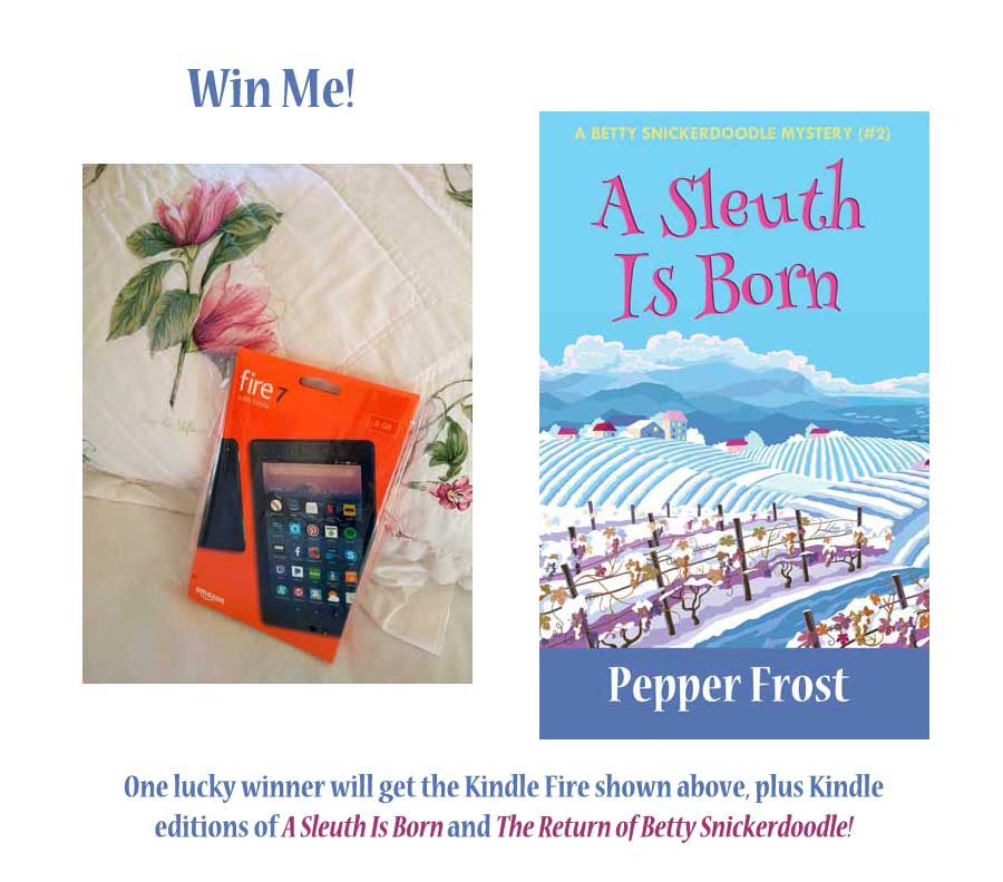 Win a Kindle Fire 7 (8MB) and two free Betty Snickerdoodle ebooks